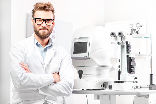 Eye doctor with ophthalmologic device 628153674