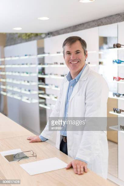 Eye doctor working at an optician's shop
