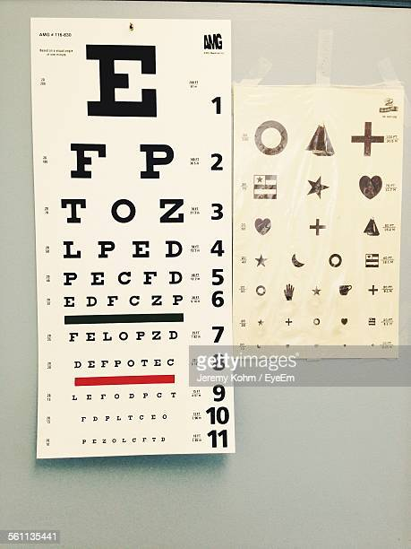 eye exam charts - eye chart stock photos and pictures