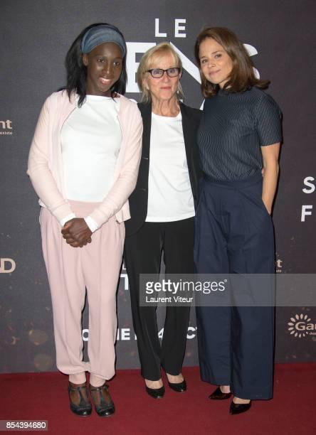 Eye Haidara Helene Vincent and Suzanne Clement attend ' Le Sens De La Fete ' Paris Premiere at Le Grand Rex on September 26 2017 in Paris France