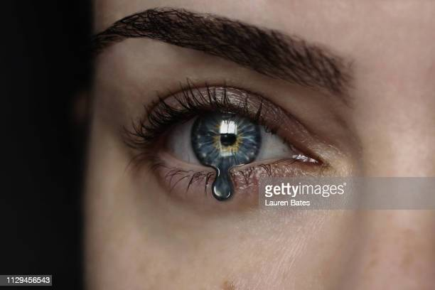 eye iris turning into tear drop - tear stock pictures, royalty-free photos & images