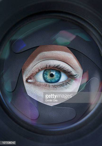 Eye looking through aperture ring of camera