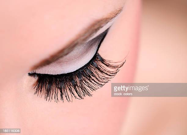 eye makeup macro - false eyelash stock pictures, royalty-free photos & images