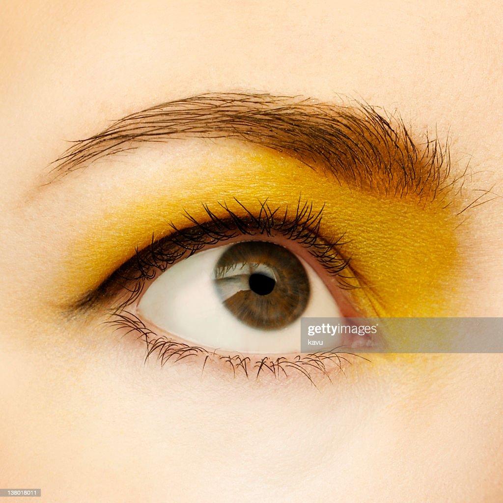 Eye Makeup Yellow Eyeshadow Eyeliner Looking Up Macro High Res Stock Photo Getty Images