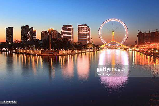Eye of Tianjin, ferries wheel and bright riverian scenery