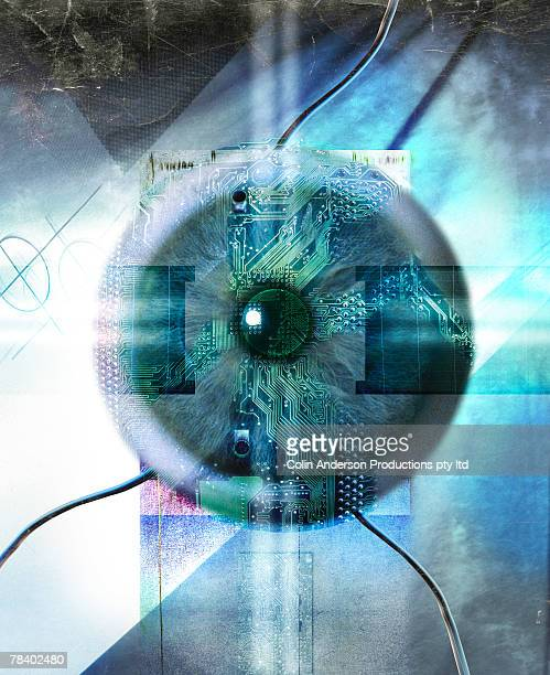 eye on technology - retinal scan stock pictures, royalty-free photos & images