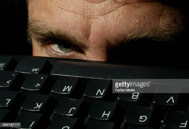 Eye overlooking a computer keyboard