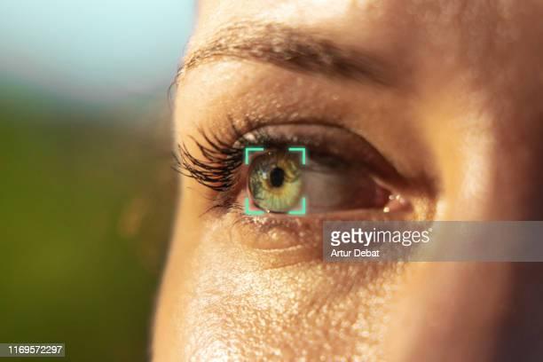 eye recognition software. - identidad fotografías e imágenes de stock