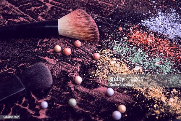 eye shadow and make-up brush - eyeshadow stock pictures, royalty-free photos & images