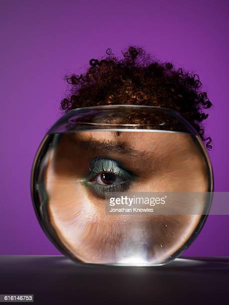 Eye through a fish bowl