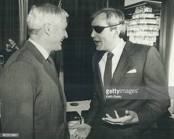 Eye to eye Liberal leader John Turner spoke to Toronto Liberals yesterday greets his Ontario counterpart David Peterson wearing an eyepatch because...