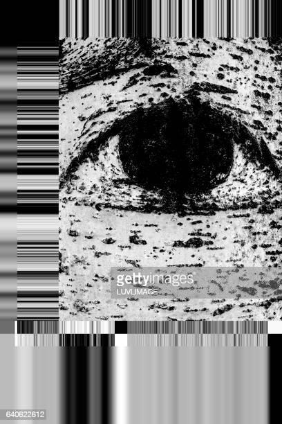 eye with barcode-like design.