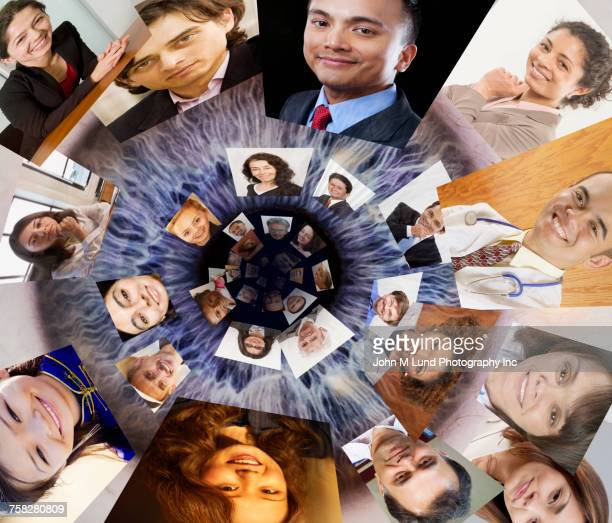 eyeball pupil watching social media - social media marketing stock pictures, royalty-free photos & images