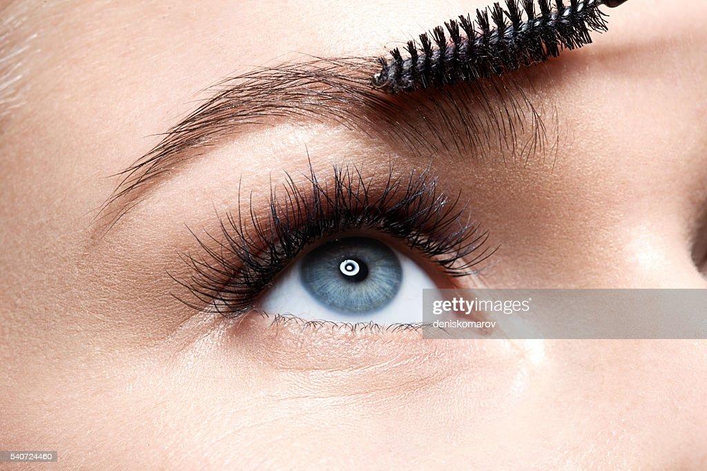Eyebrow makeup with brush : ストックフォト