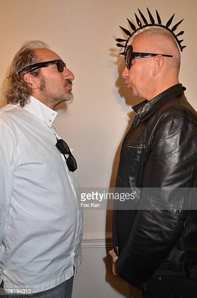 Eyeglasses designer Alain Mikli and Jean Paul Gaultier attend the JeanPaul Gaultier Eyeglasses by Mikli Launch Cocktail at Mikli Flagship Store St...