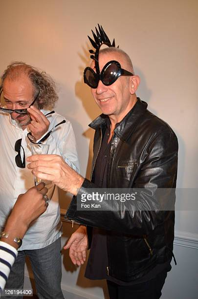 Eyeglasses designer Alain Mikli and Jean Paul Gaultier attend the JeanPaul Gaultier Eyeglasses by Mikli Launch Cocktail at Mikli Flagship Store St...