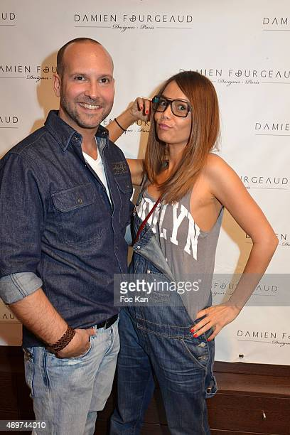 Eyeglasses designer Damien Fourgeaud and TV presenter Karine Arsene attend the 'Damien Fourgeaud' Eyeglasses Launch Party at Lissac Saint Placide on...