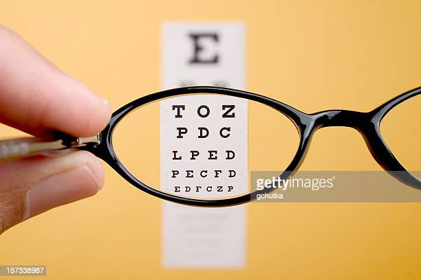 eyeglasses - eye chart stock pictures, royalty-free photos & images