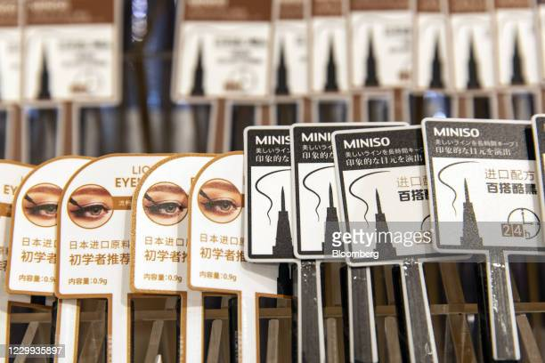 Eyeliners inside a Miniso Group Holding Ltd. Store in Guangzhou, China, on Thursday, Nov. 19, 2020. Miniso, the Chinese budget lifestyle goods...