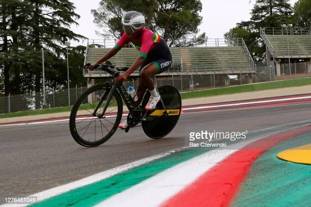 Eyeru Tesfoam Gebru of Ethiopia / Autodromo Enzo e Dino Ferrari / during the 93rd UCI Road World Championships 2020, Women Elite Individual Time...
