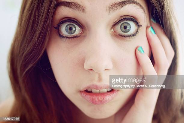 eyes wide open - staring stock photos and pictures
