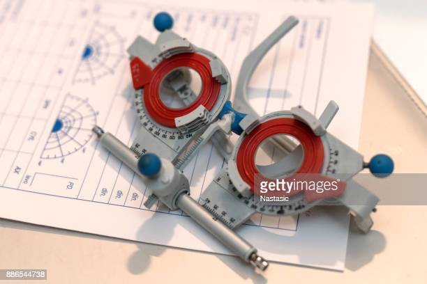 eyesight test glasses on blank prescription - lens optical instrument stock pictures, royalty-free photos & images