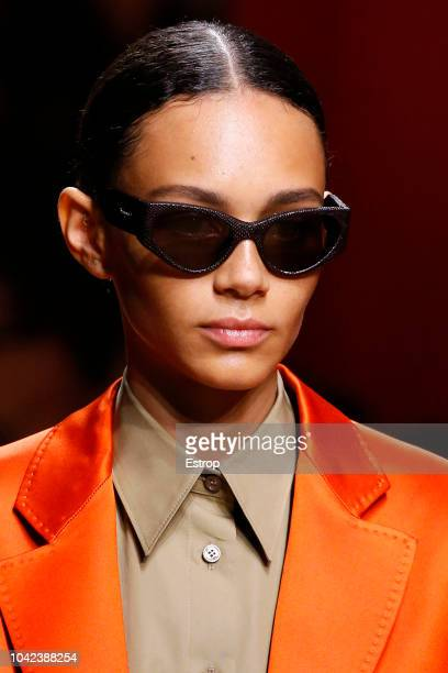 A model presents a creation for Salvatore Ferragamo fashion house during the Women's Spring/Summer 2019 fashion shows in Milan on September 22 2018