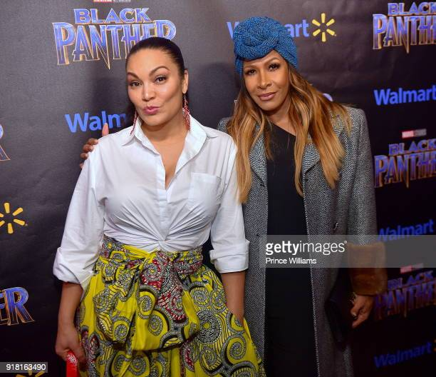 Eygpt Sherrod and Shreee Whitfield attend 'Black Panther' Advance Screening at Regal Hollywood on February 13 2018 in Chamblee Georgia