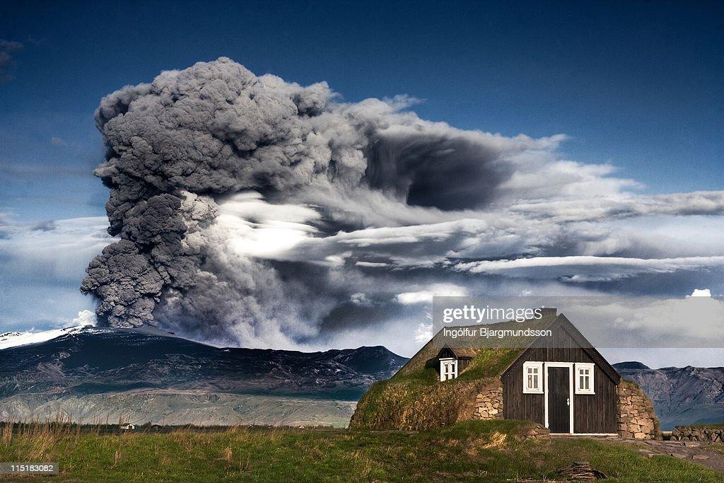 Eyjafjallajökull, Eruption, Iceland : Foto stock