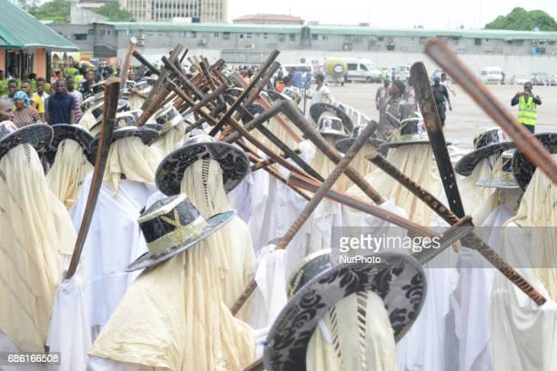 Eyo Elegushi masqueraders perform during 2017 Eyo festival held in honour of late Oba Yekini Adeniyi Elegushi Kusenla 11 and to commemorate the 50th...