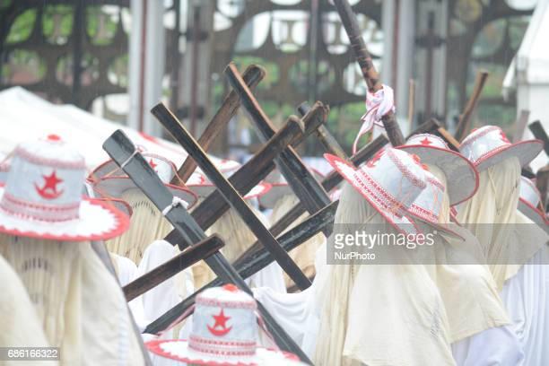 Eyo Obanikoro masqueraders perform during 2017 Eyo festival held in honour of late Oba Yekini Adeniyi Elegushi Kusenla 11 and to commemorate the 50th...