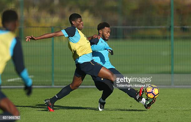 Eyoma and Georges-Kévin N'Koudou of Tottenham during the Tottenham Hotspur training session at Tottenham Hotspur Training Centre on January 18, 2017...