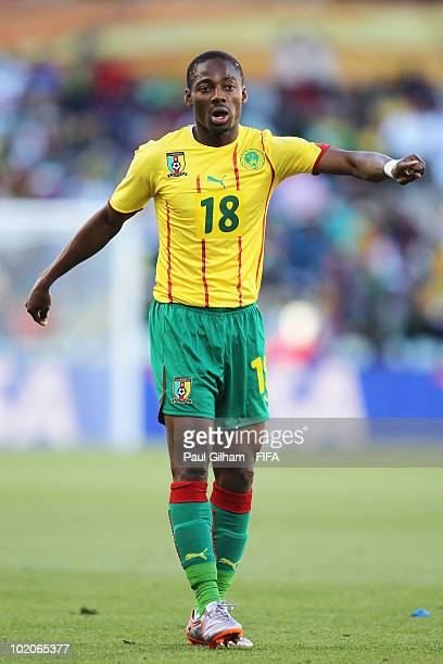 Eyong Enoh of Cameroon gestures during the 2010 FIFA World Cup South Africa Group E match between Japan and Cameroon at Free State Stadium on June 14...