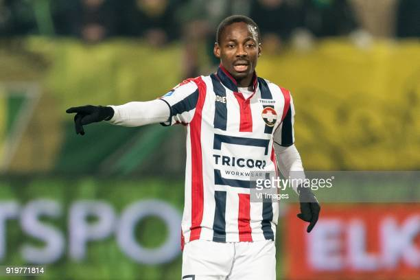 Eyong Enoh of Willem II during the Dutch Eredivisie match between ADO Den Haag and Willem II Tilburg at Cars Jeans stadium on February 17 2018 in The...