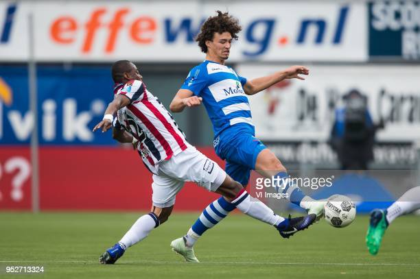 Eyong Enoh of Willem II Phillipe Sandler of PEC Zwolle during the Dutch Eredivisie match between PEC Zwolle and Willem II Tilburg at the MAC3Park...