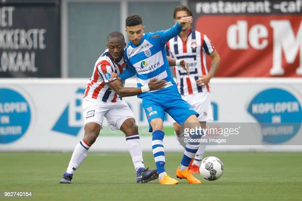 Eyong Enoh of Willem II Younes Namli of PEC Zwolle during the Dutch Eredivisie match between PEC Zwolle v Willem II at the MAC3PARK Stadium on April...