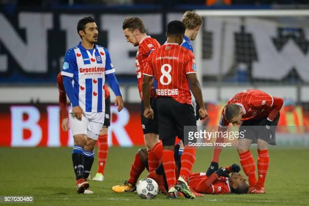 Eyong Enoh van Willem II Bartholomew Ogbeche of Willem II Ben Rienstra of Willem II Reza Ghoochannejhad of SC Heerenveen during the Dutch Eredivisie...
