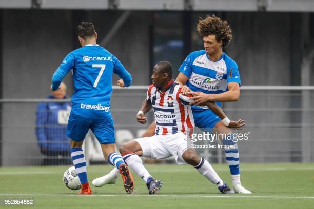 Eyong Enoh van Willem II Philippe Sandler of PEC Zwolle during the Dutch Eredivisie match between PEC Zwolle v Willem II at the MAC3PARK Stadium on...