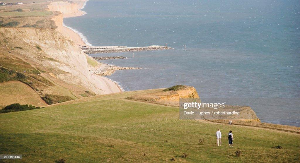 Eype mouth, Dorset coast path to Thornecombe Beacon, Jurassic Coast, UNESCO World Heritage Site, near Bridport, Dorset, England, United Kingdom, Europe : Stock Photo