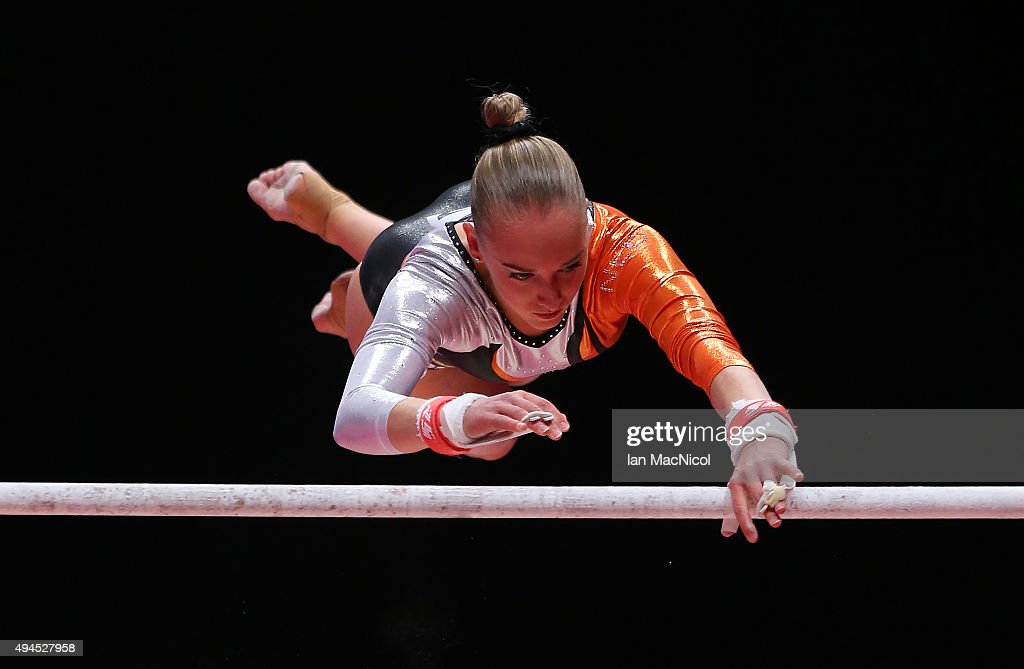 Eythora Thorsdottir of Netherlands competes on the Uneven Bars during day five of World Artistic Gymnastics Championship at The SSE Hydro on October 27, 2015 in Glasgow, Scotland.