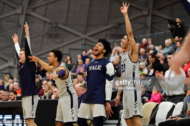 Eze Dike of the Yale Bulldogs celebrates a three point basket against the Princeton Tigers during the second half at L Stockwell Jadwin Gymnasium on...