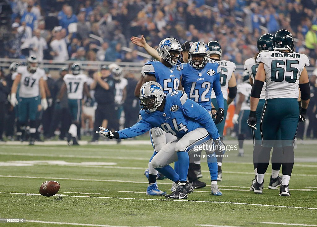 Ezekiel Ansah #94 of the Detroit Lions celebrates a third quarter sack while playing the Philadelphia Eagles at Ford Field on November 26, 2015 in Detroit, Michigan.