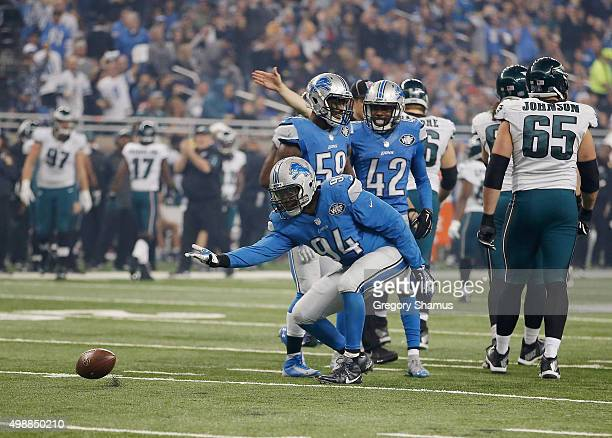 Ezekiel Ansah of the Detroit Lions celebrates a third quarter sack while playing the Philadelphia Eagles at Ford Field on November 26, 2015 in...