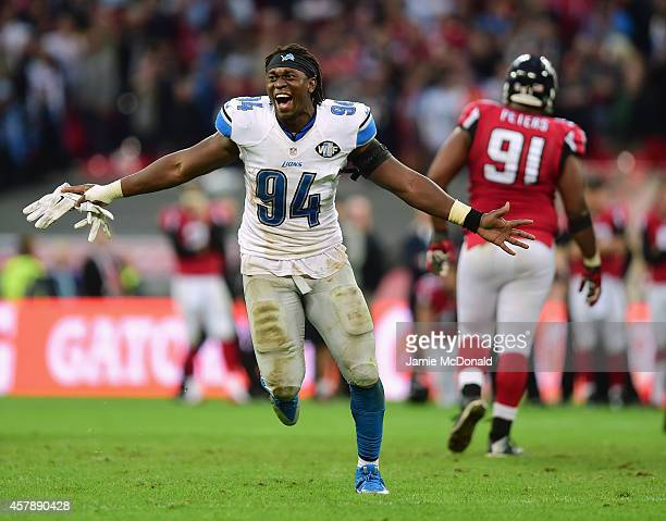 Ezekiel Ansah of the Detroit Lions celebrates victory during the NFL match between Detroit Lions and Atlanta Falcons at Wembley Stadium on October 26...