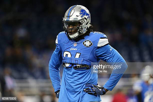 Ezekiel Ansah of the Detroit Lions during warm ups against the Jacksonville Jaguars at Ford Field on November 20, 2016 in Detroit, Michigan.