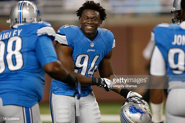 Ezekiel Ansah of the Detroit Lions is all smiles during pre game prior to playing the Minnesota Vikings at Ford Field on September 8 2013 in Detroit...
