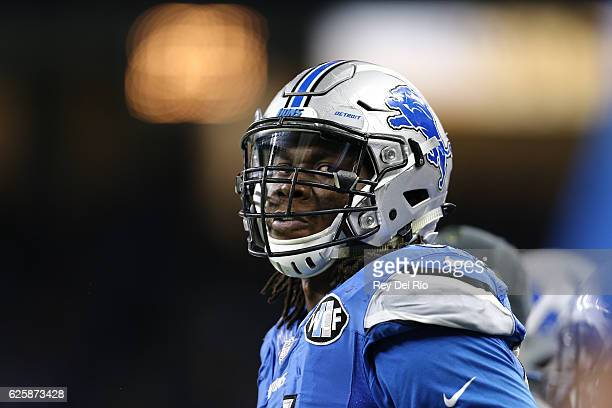 Ezekiel Ansah of the Detroit Lions on the sidelines during the game against the Jacksonville Jaguars at Ford Field on November 20 2016 in Detroit...