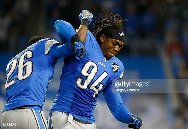 Ezekiel Ansah of the Detroit Lions prepares to play the Washington Redskinsat Ford Field on October 23 2016 in Detroit Michigan Detroit won the game...