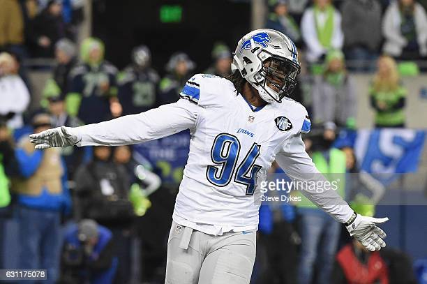 Ezekiel Ansah of the Detroit Lions reacts during the first half against the Seattle Seahawks in the NFC Wild Card game at CenturyLink Field on...