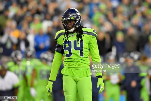 Ezekiel Ansah of the Seattle Seahawks reads the Los Angeles Rams offense during the game at CenturyLink Field on October 03 2019 in Seattle...